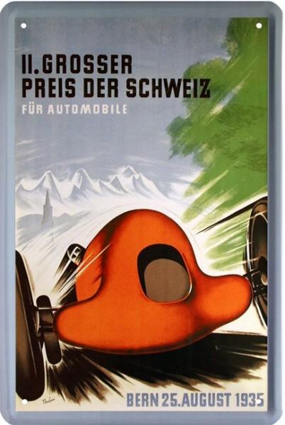 """Blechschild """" 2. Großer Preis der Schweiz """""""