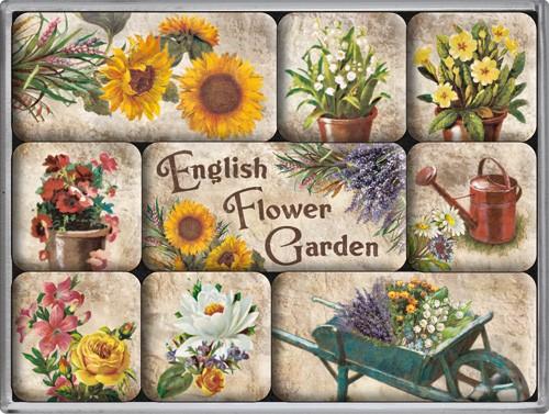 """Kühlschrank Magnet-Set 9-tlg """"English Flower Garden Blumen Garten"""""""