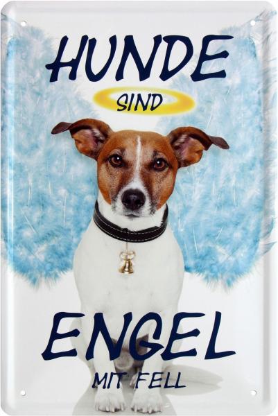 """Blechschild """" Hunde sind Engel mit Fell Hundeliebe"""""""