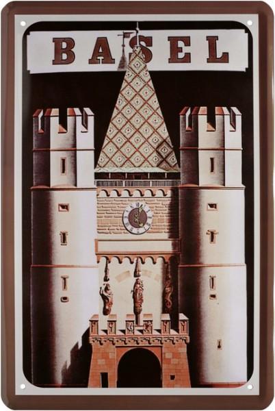 "Blechschild "" Belgium Basel Stadt Belgien Turm """