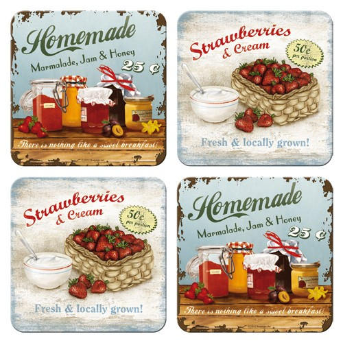 "Untersetzer-Set 4-tlg "" Hommade Marmalade Jam Honey"""