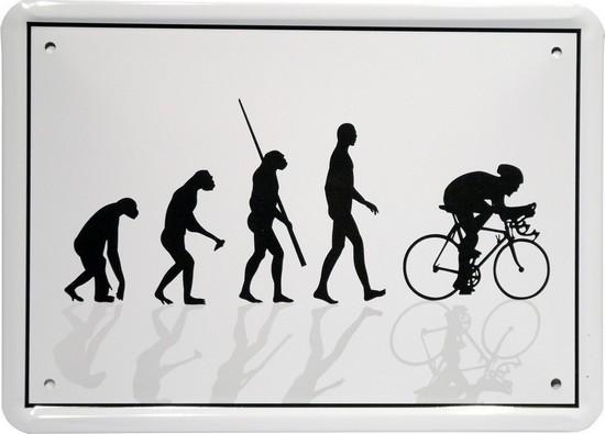 """Blechschild 15 x 21 cm """"Evolution Radfahrer"""""""