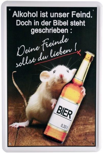 """Blechschild """"Funny Bier Schild - Alkohol ist unser Feind"""""""