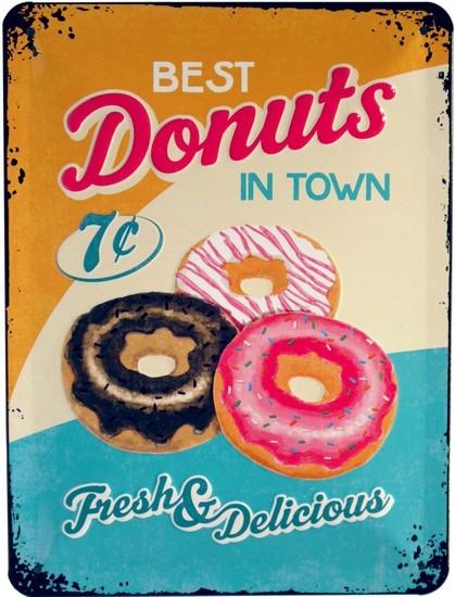 "Blechschild geprägt 15 x 20 cm ""Donuts American Food USA Donut"""
