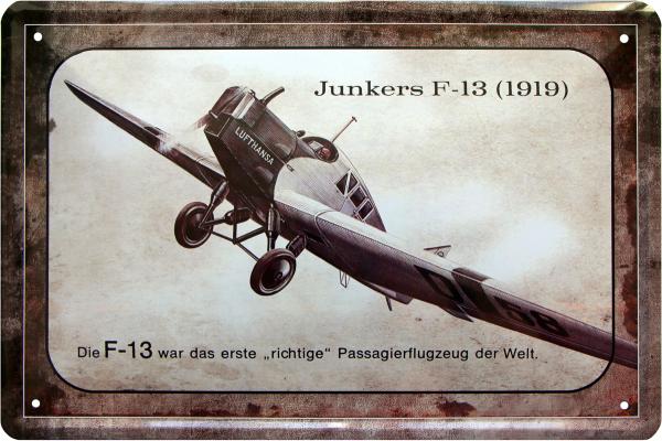 """Blechschild """" Junkers F-13 1919 """""""