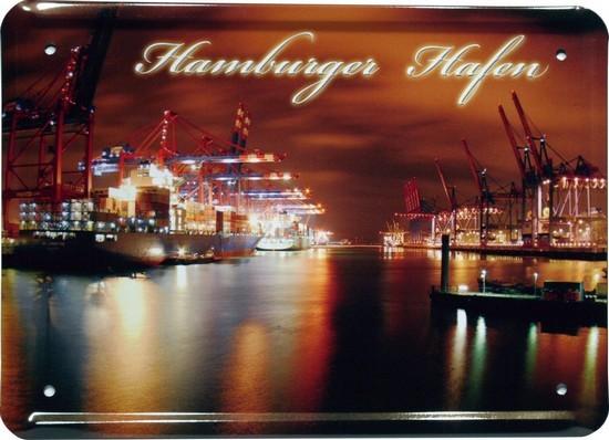 """Blechschild 15 x 21 cm """"Hamburger Hafen"""""""