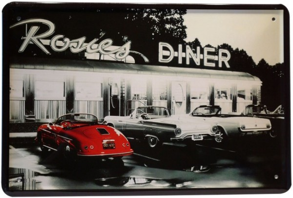 "Blechschild ""Rossies Diner Bar USA Amerika"""