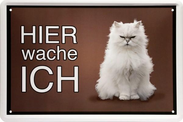 """Blechschild """" Hier wache ich - böse Katze """""""