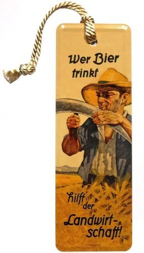 """Lesezeichen """"Wer Bier trinkt hilft der Landwirtschaft"""" mit Kordel"""