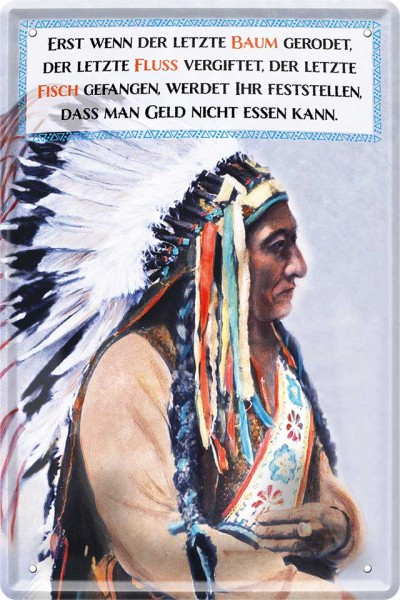 """Blechschild """"Indianer Weisheit - Wenn der letzte Baum"""""""