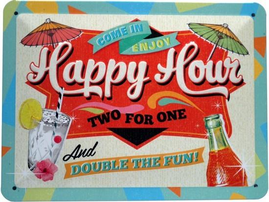"""Blechschild geprägt 15 x 20 cm """"Happy Hour!"""""""