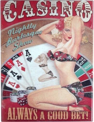 """Kühlschrank Metall Magnet """" PinUp Girl Casino """""""