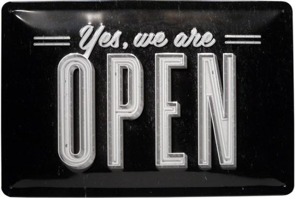 """Blechschild geprägt """"We Are Open Wir haben geöffnet """""""