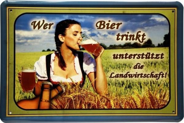 """Blechschild """" Wer Bier trinkt... """""""