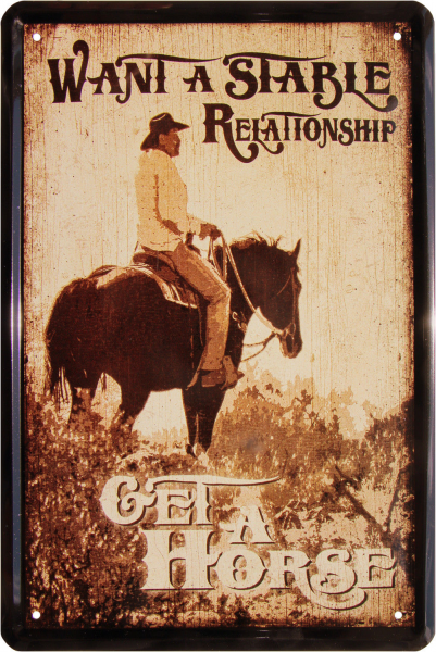 """Blechschild """"Want a Stable Relationship - Get a horse"""""""