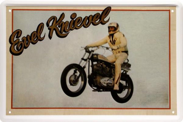 "Blechschild "" Evel Knievel Jumping Motorcycle Stuntman Bike """