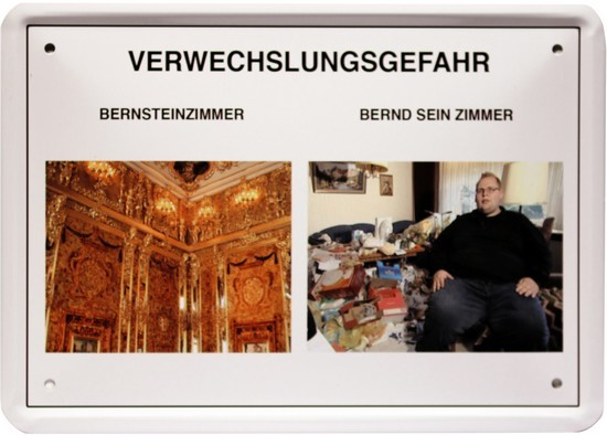"""Blechschild 15 x 21 cm """" Verwechslungsgefahr- Bernsteinzimmer """""""