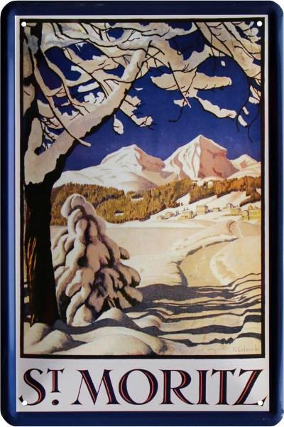 """Blechschild """" Sankt Moritz Alpen """""""