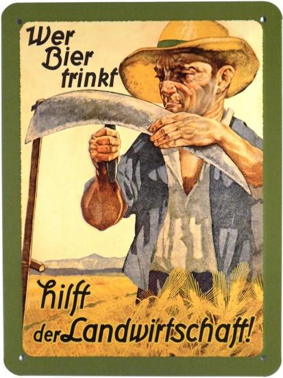 """Blechschild geprägt 15 x 20 cm """"Wer Bier trinkt hilft ..."""""""