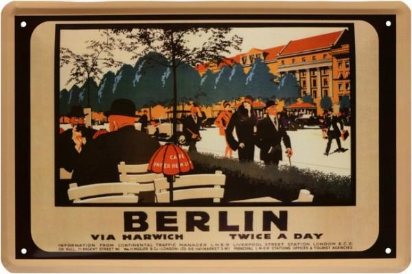 """Blechschild """" Reklame Berlin via Harvich twice a day """""""
