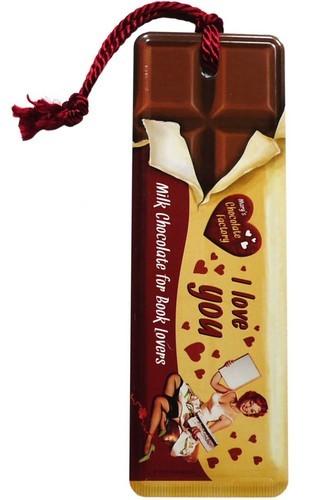 """Lesezeichen """"I love you"""" Schokolade mit Kordel"""