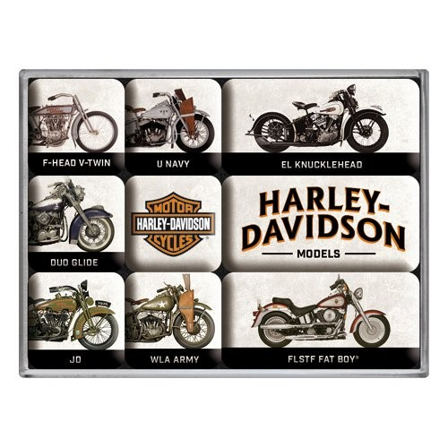 """Kühlschrank Magnet-Set 9-tlg """"Harley Davidson - Model Chart"""""""