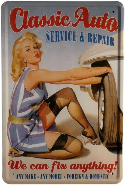 "Blechschild ""Classic Auto Repair Sexy Pin Up Girl"""
