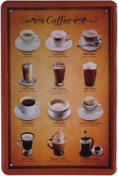 """Blechschild """"Kaffee Sorten Tassen Koffee"""""""
