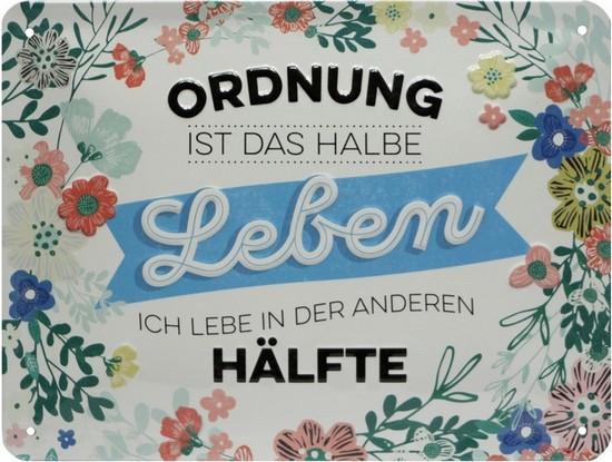 """Blechschild geprägt 15 x 20 cm """"Ordnung ist das halbe Leben"""""""