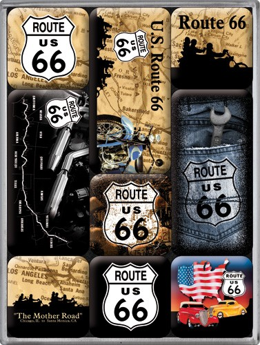 "Kühlschrank Magnet-Set 9-tlg ""Route 66 Amerika USA"""