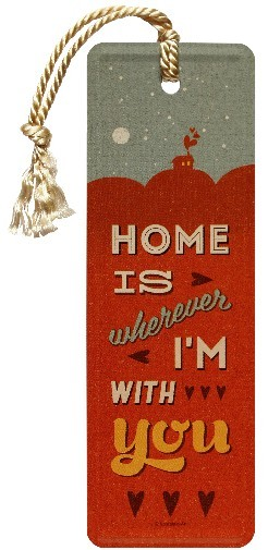 """Lesezeichen """" Word Up Home is Wherever I'm With You """" mit Kordel"""