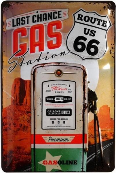 """Blechschild geprägt """" U.S. Route 66 Gas Station """""""