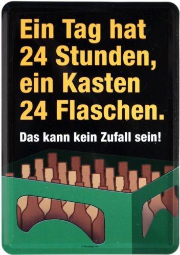 """Blechschild """"Ein Tag hat 24 Stunden... Bier Beer"""""""