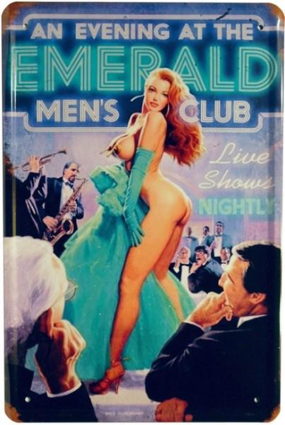 """Blechschild """"Sexy Girl - Emerald Men´s Club"""""""