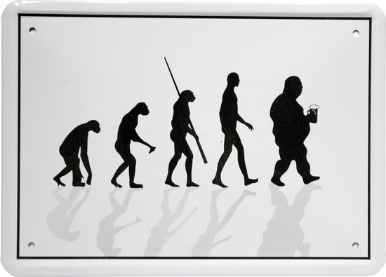 "Blechschild 15 x 21 cm ""Evolution Biertrinker"""