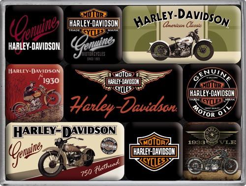 "Kühlschrank Magnet-Set 9-tlg ""Harley Davidson Motorrad USA"""