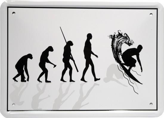 "Blechschild 15 x 21 cm ""Evolution Surfer"""