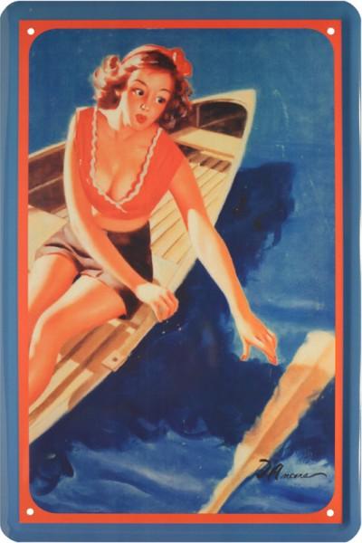 """Blechschild """" Sexy Pin Up Girl im Ruder Boot """""""