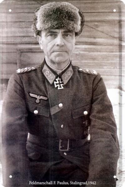 """Blechschild """" Feldmarschall F. Paulus """""""
