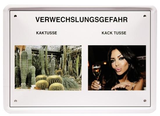 """Blechschild 15 x 21 cm """" Verwechslungsgefahr - Kaktusse """""""