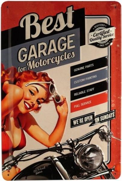 """Blechschild geprägt """"Best Garage for Motorcycles"""""""