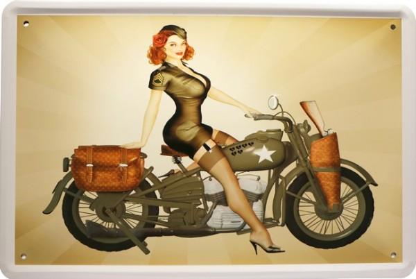 """Blechschild """" PinUp Sexy Biker Girl US Army """""""