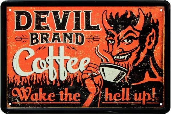"Blechschild "" Devil Brand Coffee Kaffee Amerika """