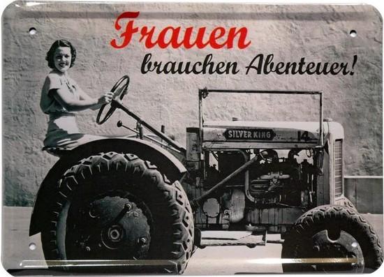 """Blechschild 15 x 21 cm """"Frauen brauchen Abenteuer"""""""