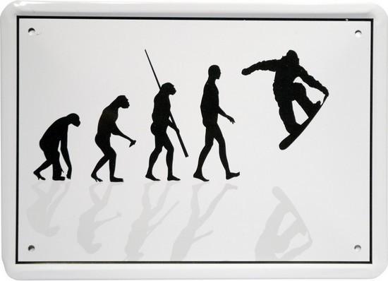 """Blechschild 15 x 21 cm """"Evolution Snowboader"""""""