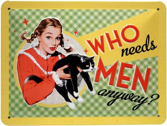 "Blechschild geprägt 15 x 20 cm ""Who needs men anyway?"""