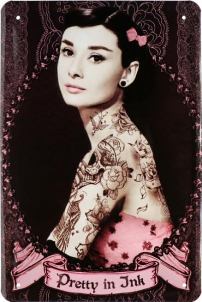 """Blechschild """" Tattoo Pretty in Ink Sexy Hepburn Audrey """""""