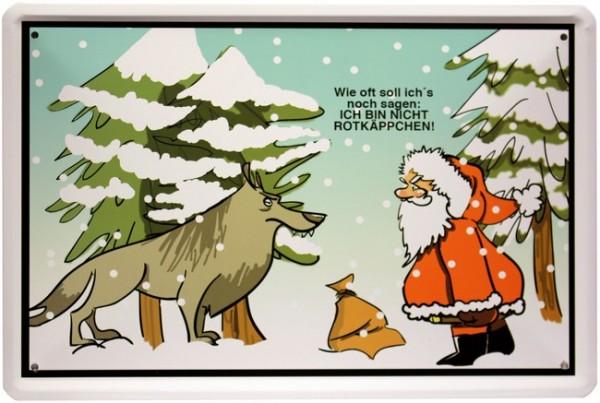 Blechschild Spruch Karikatur Weihnachtsman