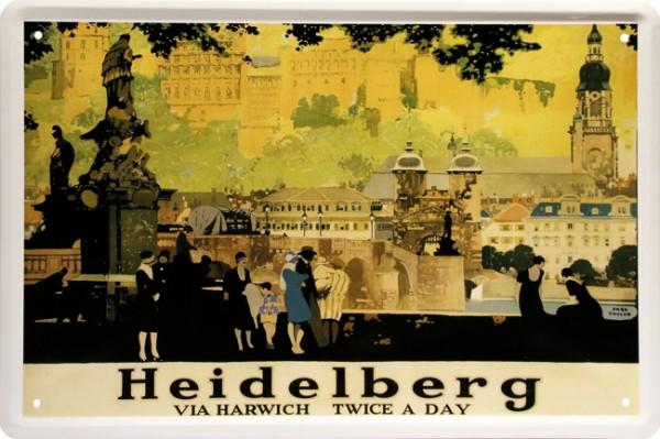 "Blechschild "" Stadtansicht Heidelberg """