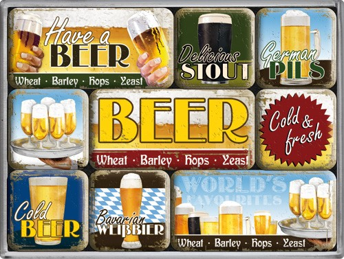 """Kühlschrank Magnet-Set 9-tlg """"Have a Beer Bier worldwide Stout"""""""